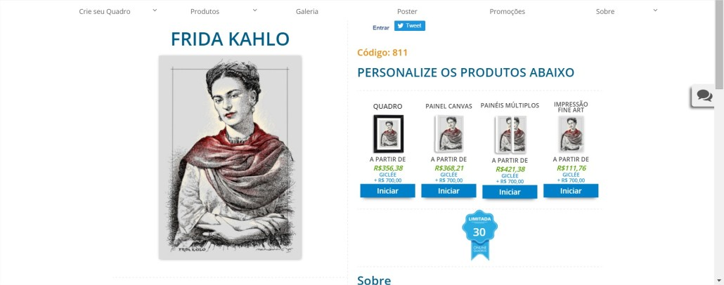 FRIDA KAHLO PrintHD - Comprar Quadros para Sala - Google Chrome