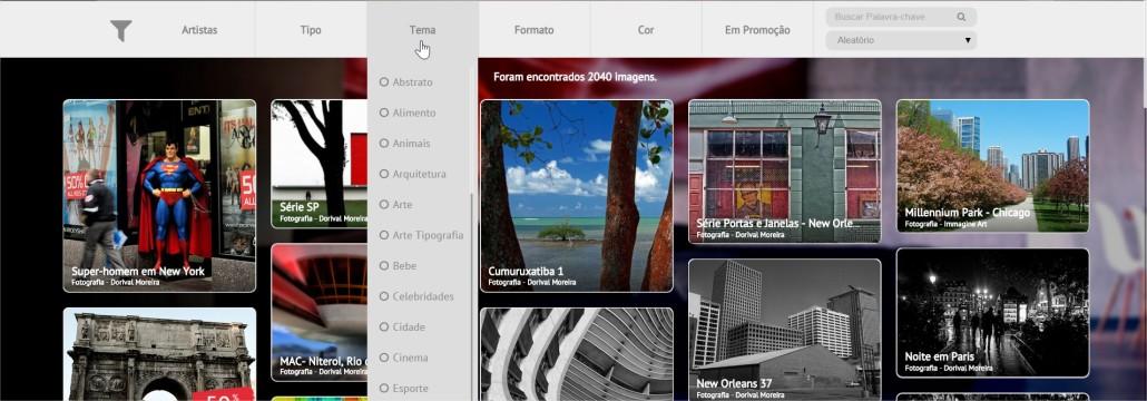 Galeria Online filtros de busca