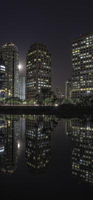 Série São Paulo - Noturna de edifícios e seus reflexos às margens do Rio Pinheiros - 3