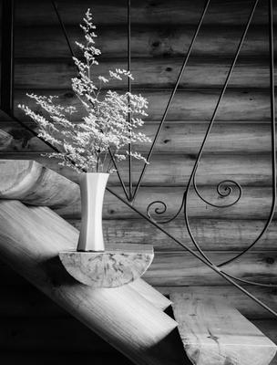 vaso com flores na escada_1