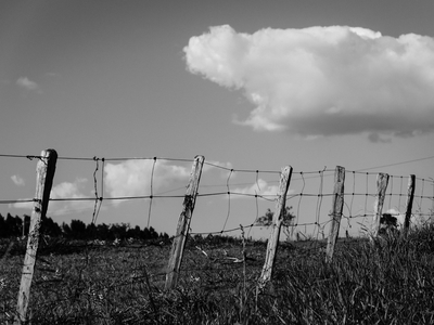 cerca de fazenda e nuvens