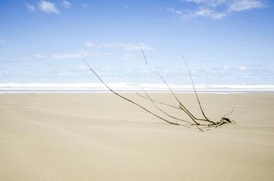 A praia.