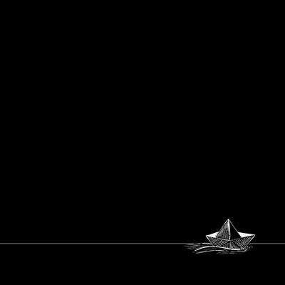 Barco à deriva fundo preto quadrado