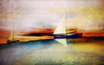 Barcos ao Pôr do Sol