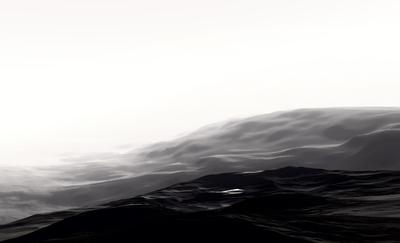 Montanhas em preto e branco