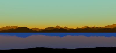Montanhas sobre águas calmas