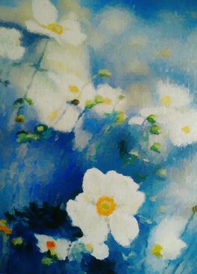 Flores Brancas em fundo Azul