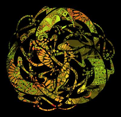 Mandala de Lagartos-Suruba de Mabuyas - Verde e Preto