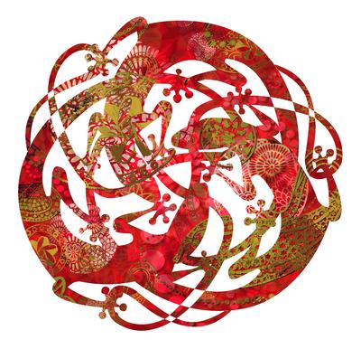 Mandala de Lagartos-Suruba de Mabuyas - Vermelho e Branco