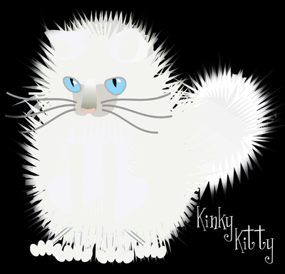 Kinky Kitty - Fluffy White in Black