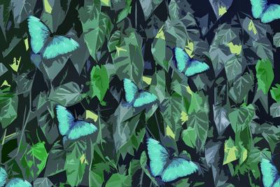 Folhagens com borboletas