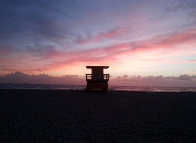 Por do sol em South Beach